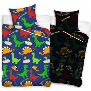 Dětské barevné povlečení na postel s dinosauři zářící ve tmě