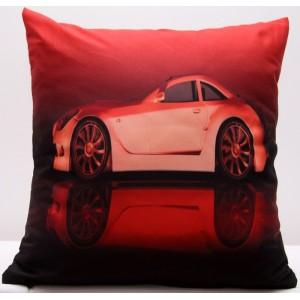 Červený povlak na polštář s potiskem auta
