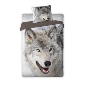 Šedé dětské povlečení s motivem vlka