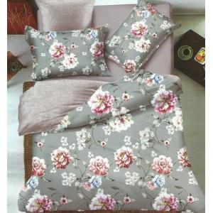 Béžovo šedé oboustranné ložní prádlo s květinami