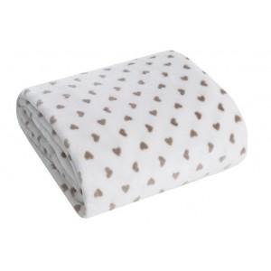 Teplá deka krémové barvy se srdíčky