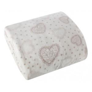 Jemná bílá deka s motivem srdíček