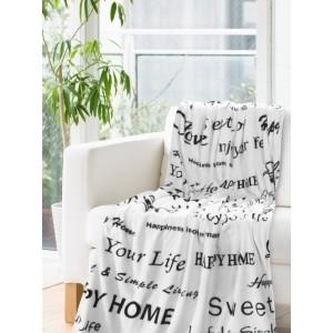 Bílá deka s černými nápisy
