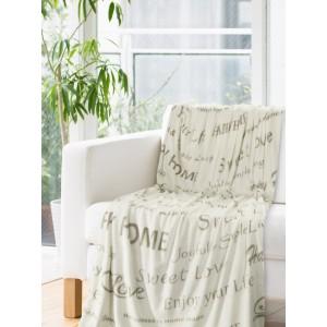 Krémové deky s potiskem béžové barvy