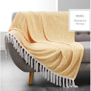 Zářivá žlutá deka s třásněmi