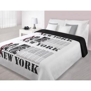 Stylový přehoz na manželskou postel s motivem velkoměsta NEW YORK bílo černé barvy