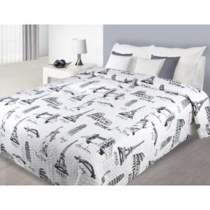 Přehoz na manželskou postel bílé barvy s obrázky světových památek