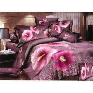 Luxusní povlečení 100% bavlněný satém růžovými květy