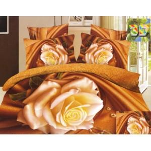 Moderní ložní povlečení 100% bavlněný satén zlaté barvy s růží