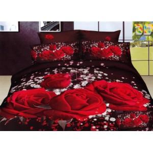 Moderní ložní povlečení 100% bavlněný satén s červenými růžemi