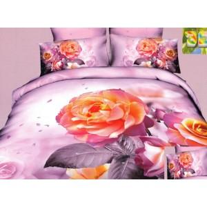 Moderní ložní povlečení 100% bavlněný satém fialové barvy s růží