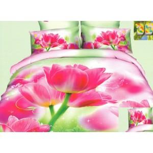 Luxusní povlečení 100% bavlněný satém s růžovými květy