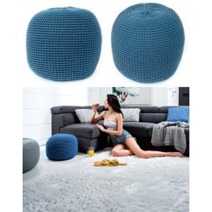 Modré pletené taburetky s výplní