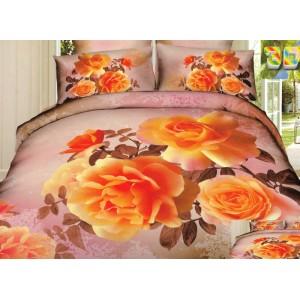 Béžové ložní prádlo s oranžovými růžemi