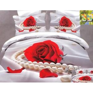 Luxusní povlečení 100% bavlněný satém růže s perlami