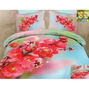 Luxusní povlečení 100% bavlněný satém barevný s květinami
