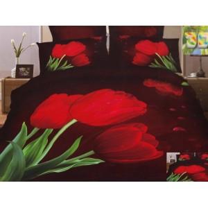 Moderní ložní povlečení 100% bavlněný satém tmavý s červenými tulipány