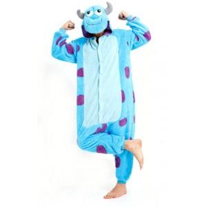 Modré pyžamové overaly kigurumi s motivem MONSTER