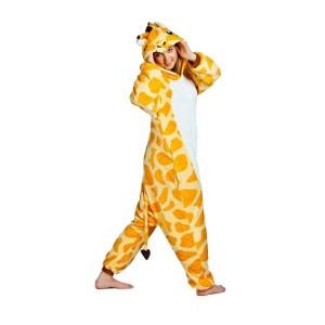 Kigurumi overal na spaní žluté barvy s motivem žirafy