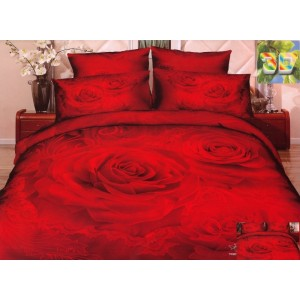 Luxusní ložní povlečení 100% bavlněný satém červené barvy s velkými růžemi