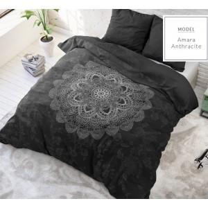 Luxusní bavlněné ložní povlečení černé barvy se vzorem