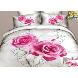 Moderní ložní povlečení 100% bavlněný satém bílý s růží