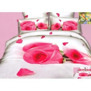 Luxusní povlečení 100% bavlněný satém bílé barvy s růžemi