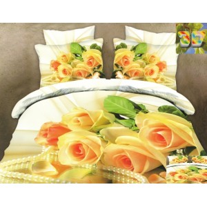Luxusní povlečení 100% bavlněný satém se žlutými růžemi