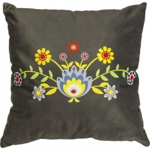 Tmavě šedý povlak na polštář s květinovým motivem