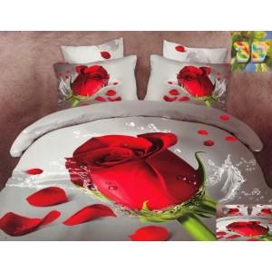 Luxusní povlečení 100% bavlněný satém bílé barvy s růží