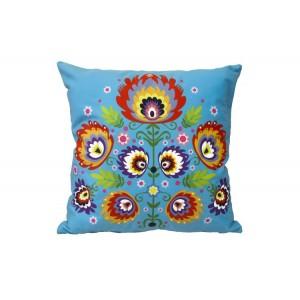 Modrý povlak na polštář s lidovým ornamentem