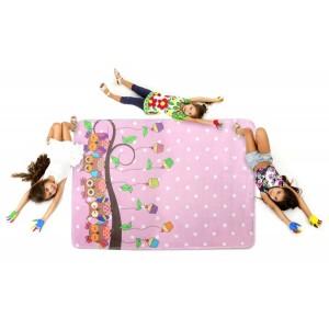 Dětský koberec se sovičky v růžové barvě
