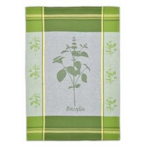 Kuchyňské utěrky zelené barvy s motivem bylinky