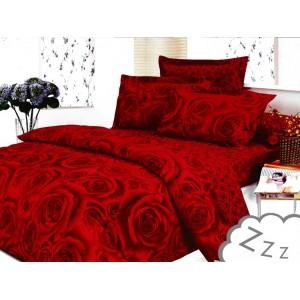 Červené bavlněné ložní povlečení s motivem růží