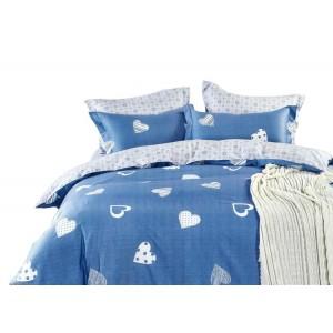 Modré romantické ložní povlečení z bavlny