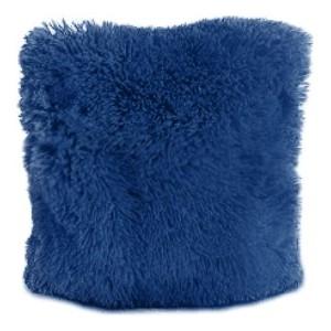 Tmavě modrý chlupatý povlak na polštář