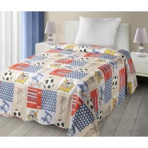 Béžové přehozy na postel s dětským sportovním motivem