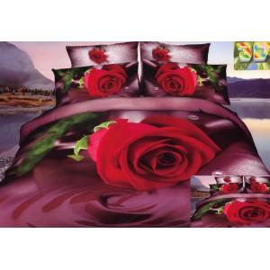 Luxusní povlečení 100% bavlněný satén s motivem červené růže