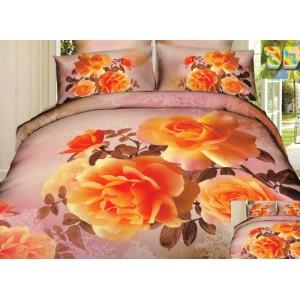 Růžově hnědá povlečení s motivem oranžových růží