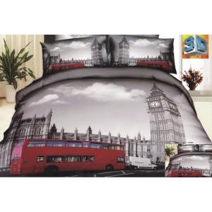 Bavlněné ložní povlečení šedé barvy s motivem města Londýn