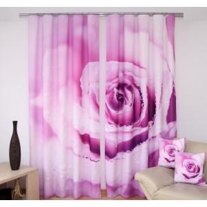Fialový závěs na okna s motivem růže