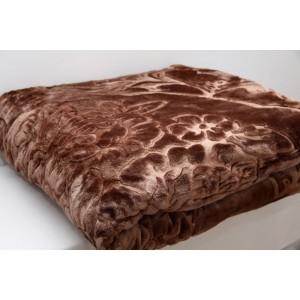 Luxusní hrubá deka z akrylu hnědé barvy