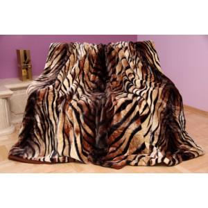 Krémová deka s hnědými pruhy