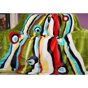 Zelená deka s barevnými kruhy a pruhy