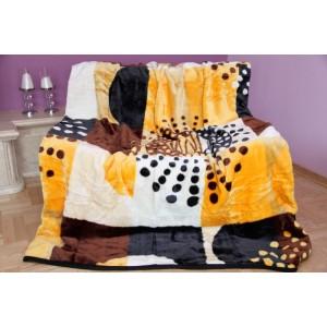 Oranžově bílá kostkovaná deka