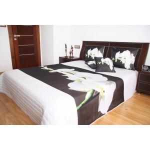 Přehoz na postel bílé barvy s motivem bílé orchideje