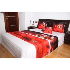 Přehoz na postel bílé barvy s motivem červené růže a bílého vína