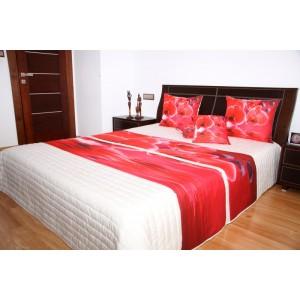 Přehoz na postel krémové barvy s motivem červených orchidejí