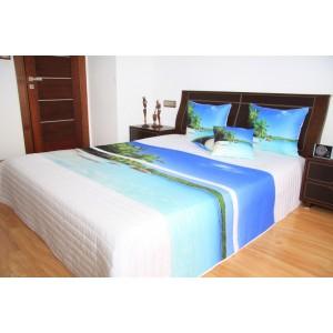 Přehoz na postel bílé barvy s motivem exotické pláže