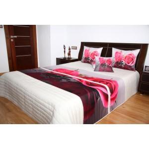 Přehoz na postel bílé barvy s motivem růžové růže